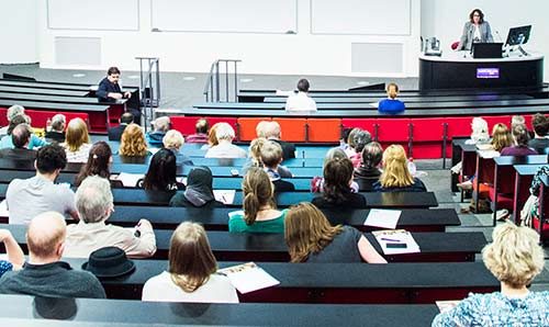 Students in a lecture theatre.