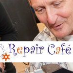 Repair Cafe logo and a man repairing something