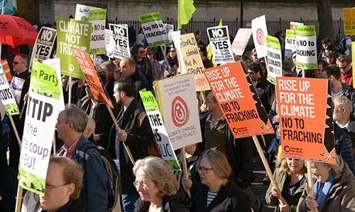 Protest against fracking in the UK.
